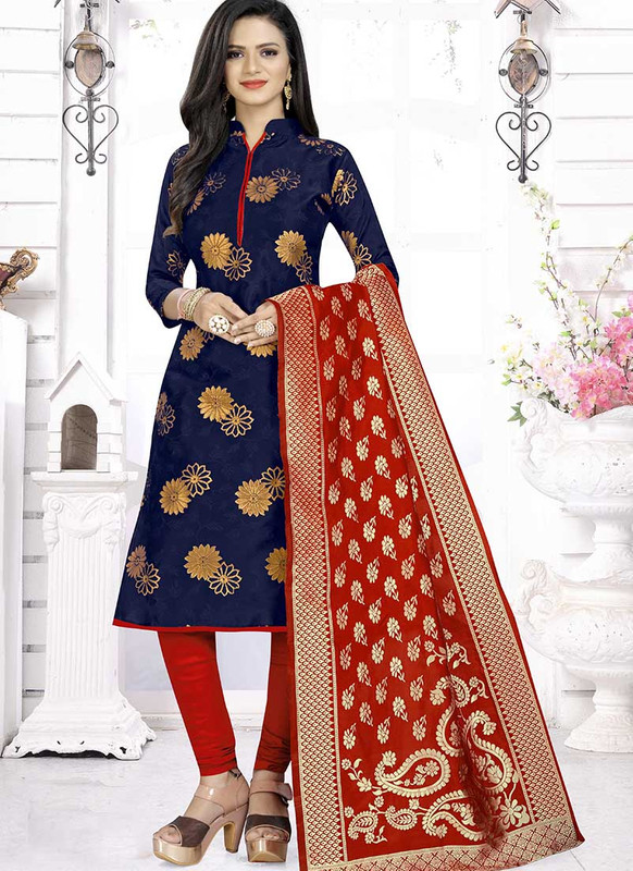 Dial N Fashion Blue  Latest Designer Banarasi Silk Salwar Suit