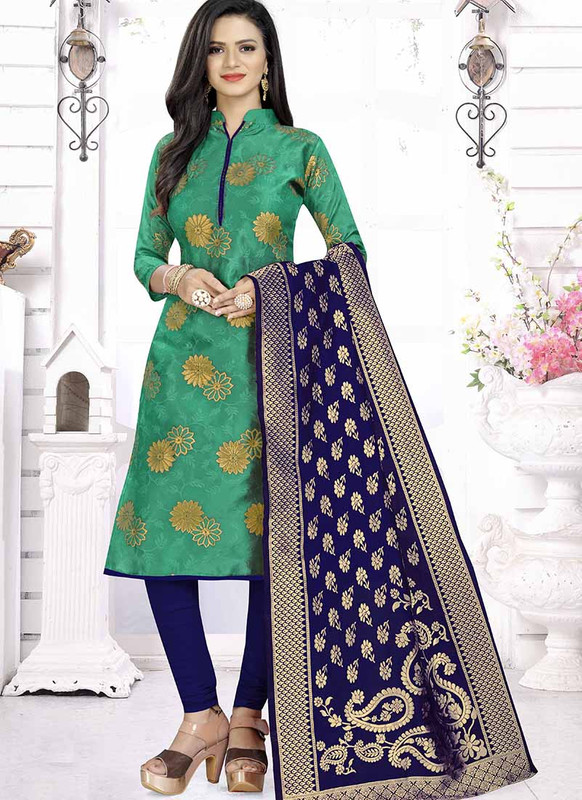 Dial N Fashion Green  Latest Designer Banarasi Silk Salwar Suit