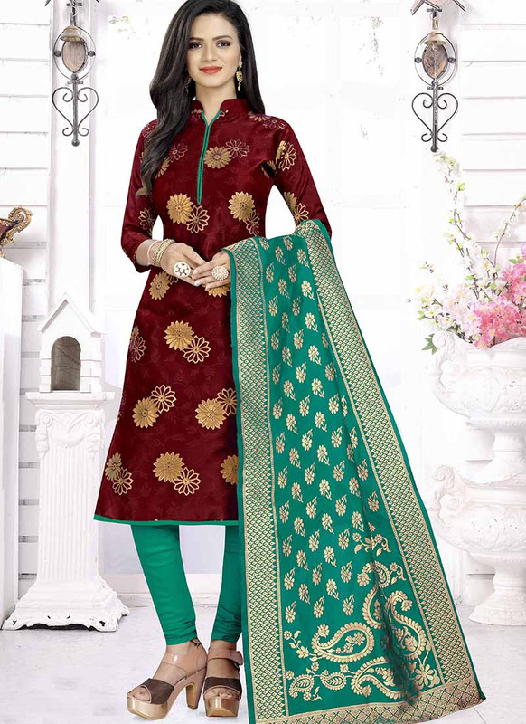 Dial N Fashion Maroon  Latest Designer Banarasi Silk Salwar Suit