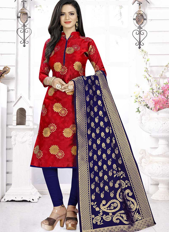 Dial N Fashion Red  Latest Designer Banarasi Silk Salwar Suit