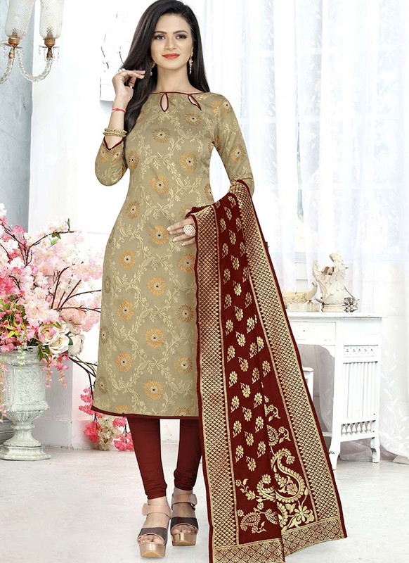 Dial N Fashion Beige  Latest Designer Banarasi Silk Salwar Suit