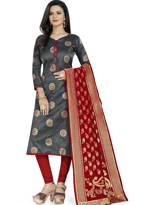 Dial N Fashion Grey  Latest Designer Banarasi Silk Salwar Suit