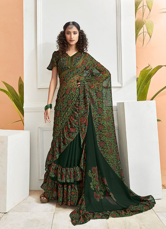 Dial N Fashion Green  Designer Party Wear Chiffon Ruffle Saree