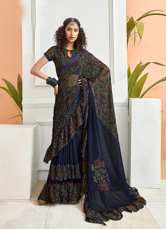 Dial N Fashion Navy Blue  Designer Party Wear Chiffon Ruffle Saree