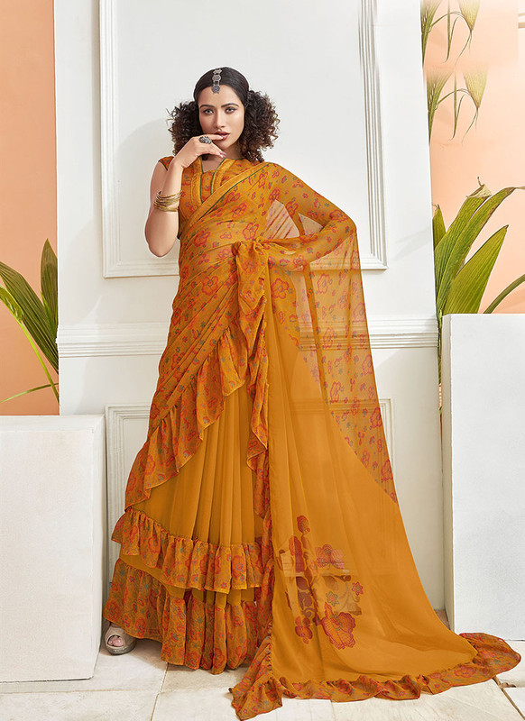 Dial N Fashion Yellow  Designer Party Wear Chiffon Ruffle Saree