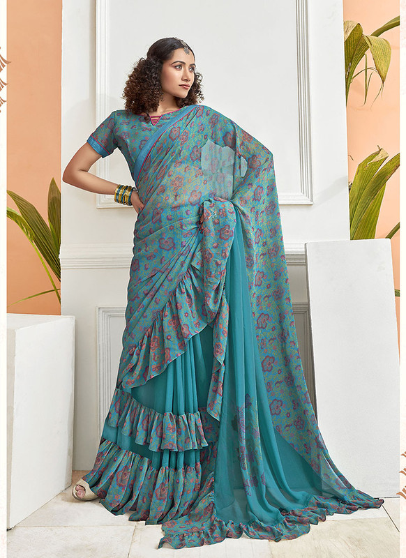 Dial N Fashion Teal Blue  Designer Party Wear Chiffon Ruffle Saree