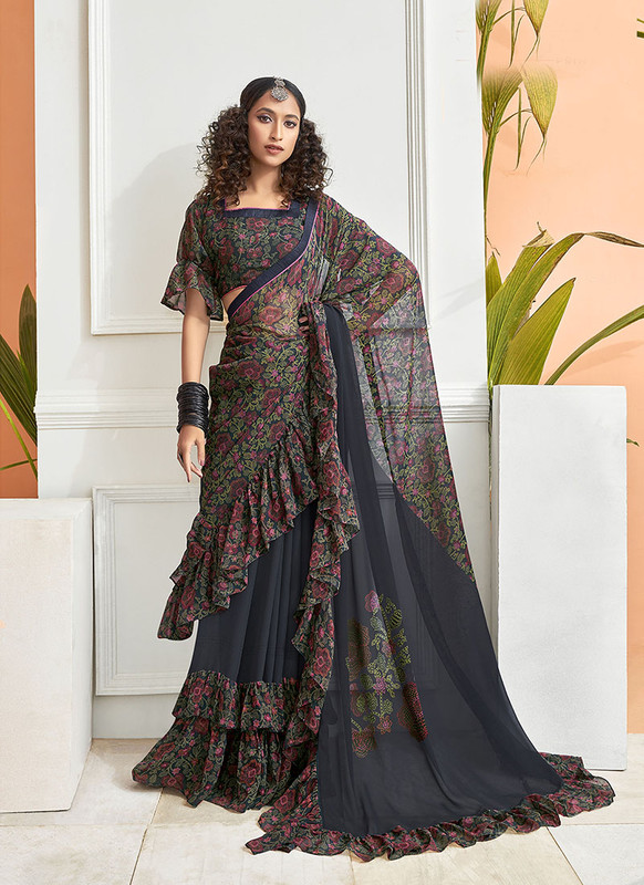 Dial N Fashion Black  Designer Party Wear Chiffon Ruffle Saree