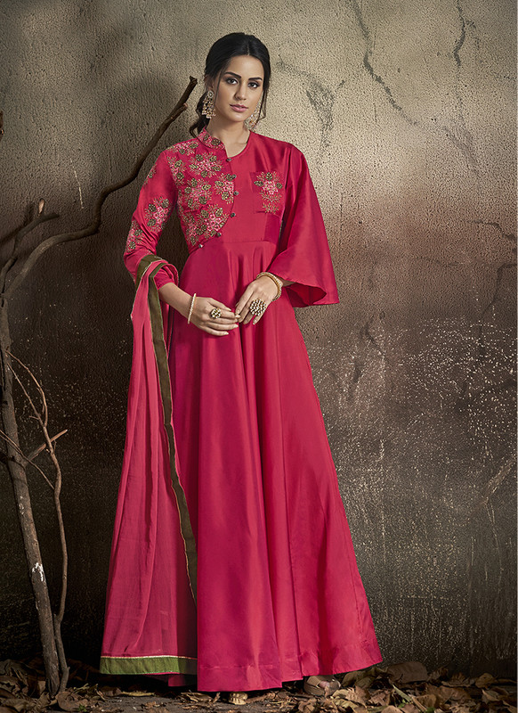 Dial N Fashion Rani Pink  Designer Party Wear Readymade Soft Tapeta Silk Gown