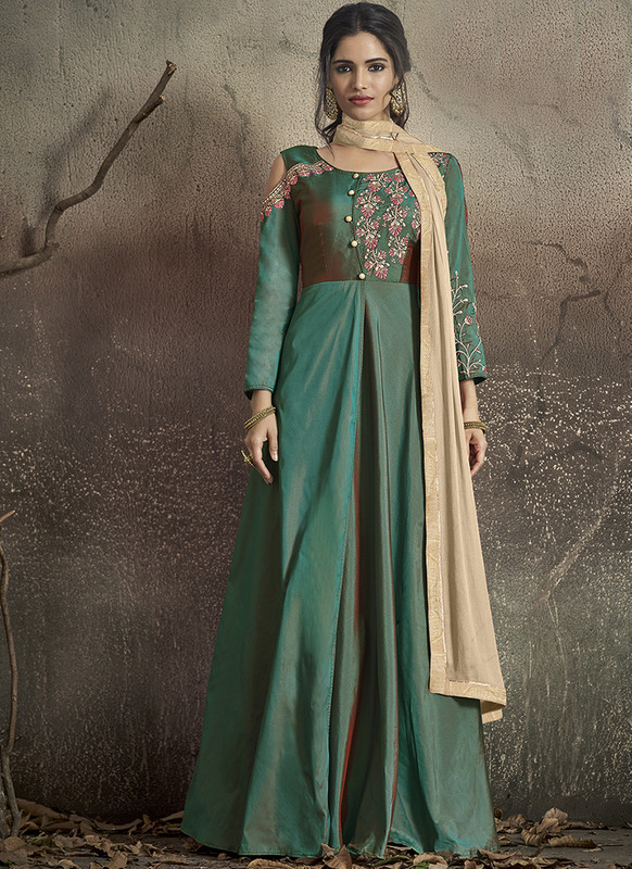 Dial N Fashion Green  Designer Party Wear Readymade Soft Tapeta Silk Gown