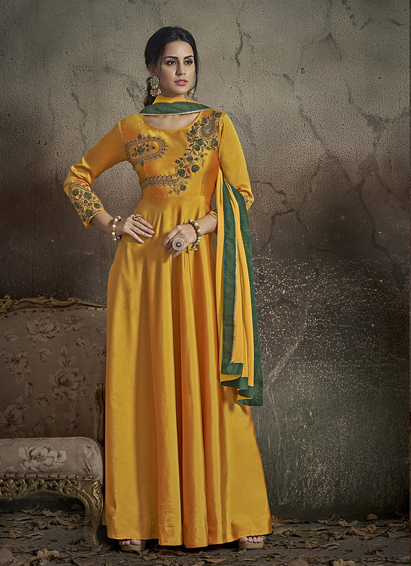 Dial N Fashion Yellow  Designer Party Wear Readymade Soft Tapeta Silk Gown