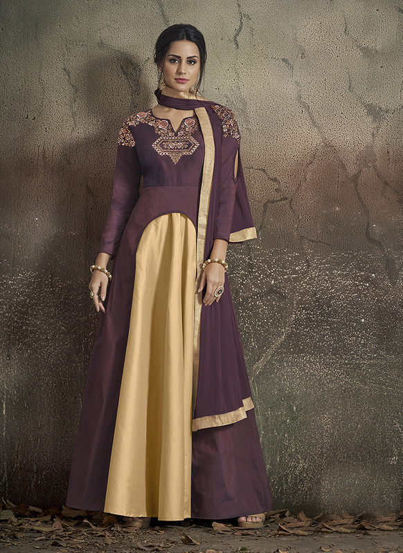 Dial N Fashion Wine, Gold  Designer Party Wear Readymade Soft Tapeta Silk Gown
