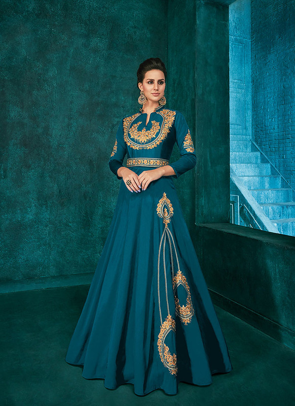 Dial N Fashion Teal Blue  Designer Party Wear Triva Silk Gown