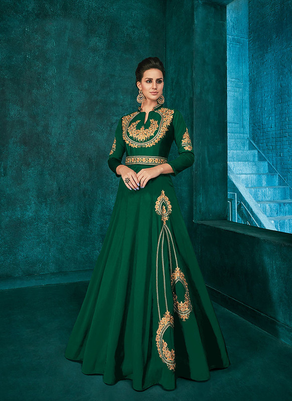 Dial N Fashion Green  Designer Party Wear Triva Silk Gown