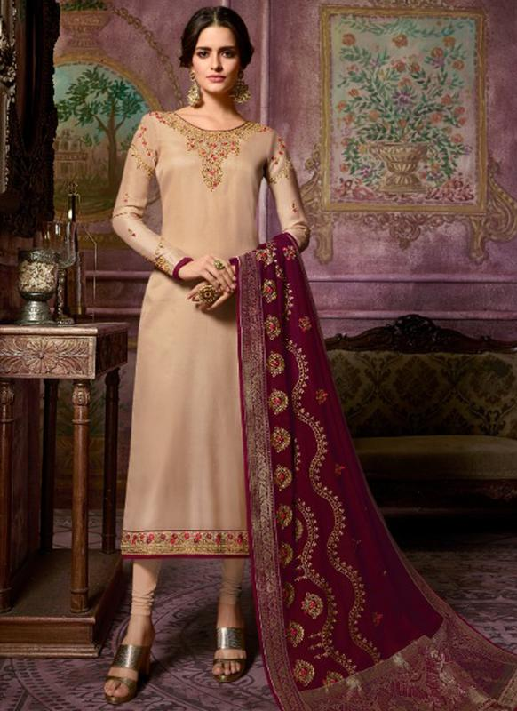 SareeBuzz Designer Partywear Embroidery Light Brown Satin Georgette Salwar Suit