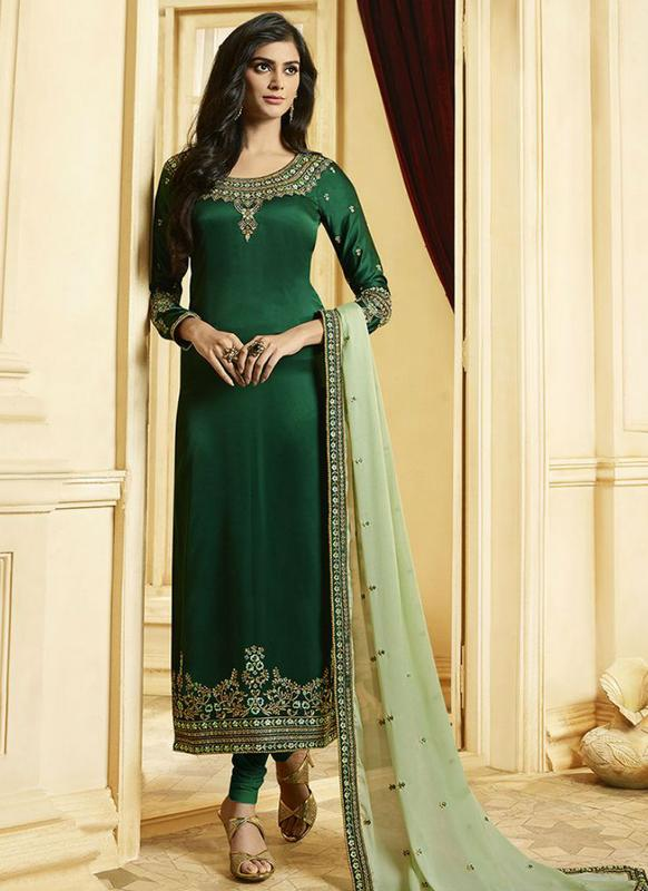 Green Georgette Embroidered Work Designer Churidar Salwar Kameez