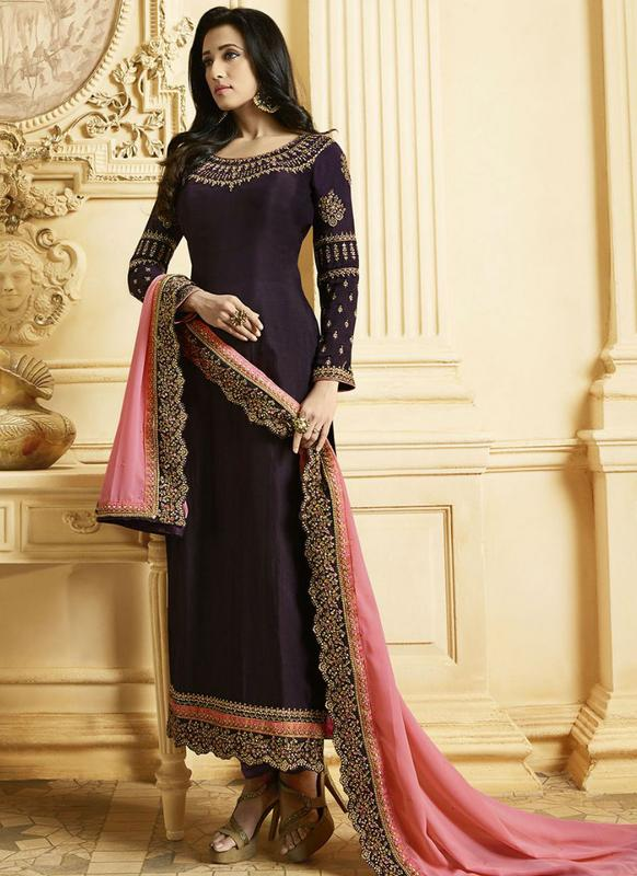 Purple Georgette Designer Embroidered Work Churidar Salwar Kameez