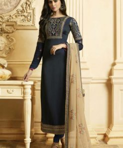 Blue Georgette Embroidered Work Designer Churidar Salwar Kameez