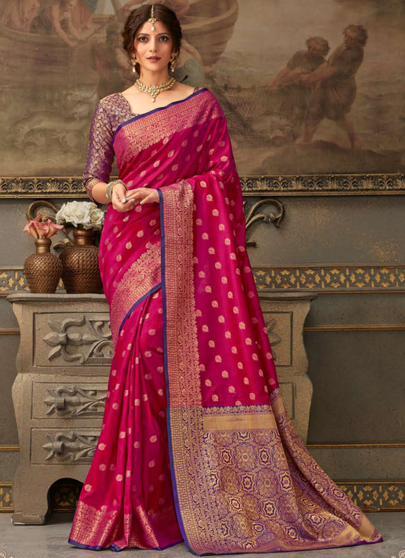 Dial N Fashion Dark Pink Handloom Silk Zari Weaving Traditional Saree