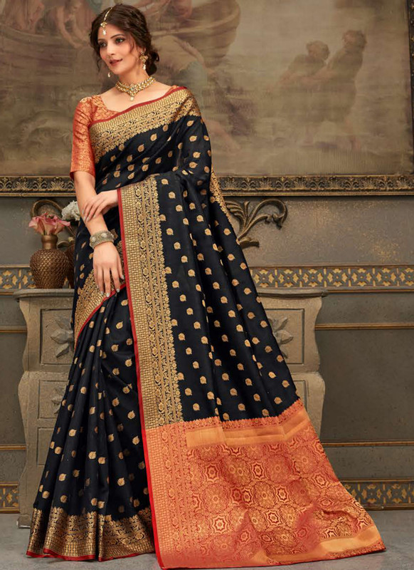 Dial N Fashion Black Handloom Silk Zari Weaving Traditional Saree