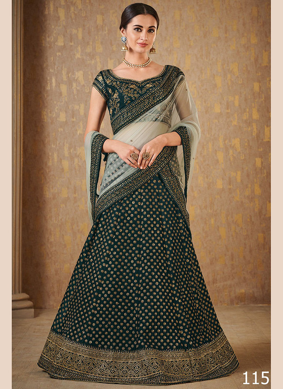 Dial N Fashion Green Color Net Work Wedding Lehenga Choli