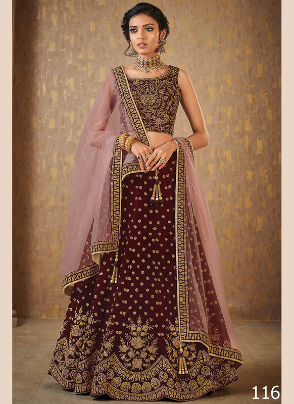 Dial N Fashion Maroon Color Net Work Wedding Lehenga Choli