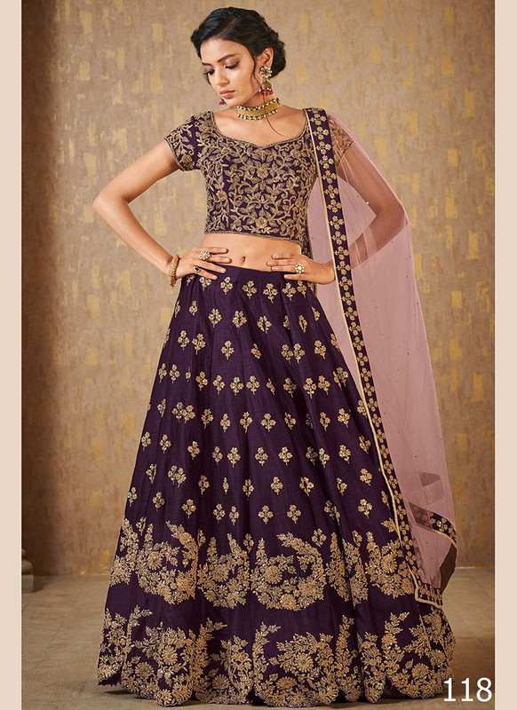 Dial N Fashion Purple Color Net Work Wedding Lehenga Choli