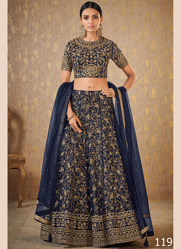 Dial N Fashion Navy Blue Color Net Work Wedding Lehenga Choli