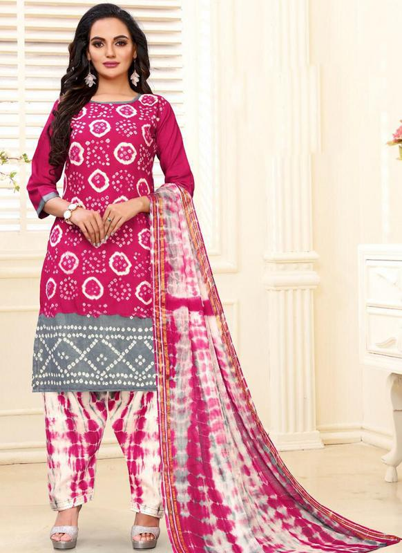 SareeBuzz Designer Casual Printed Rani and Grey Pure Cotton  Salwar Suit