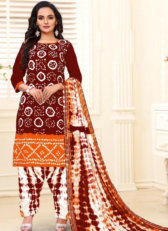 SareeBuzz Designer Casual Printed Maroon and Orange Pure Cotton  Salwar Suit