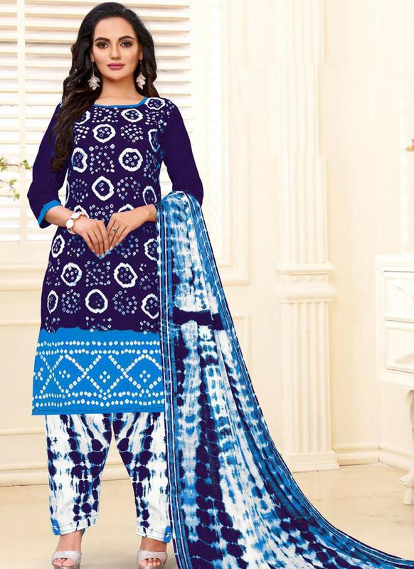 SareeBuzz Designer Casual Printed Navy Blue and Sky Pure Cotton  Salwar Suit