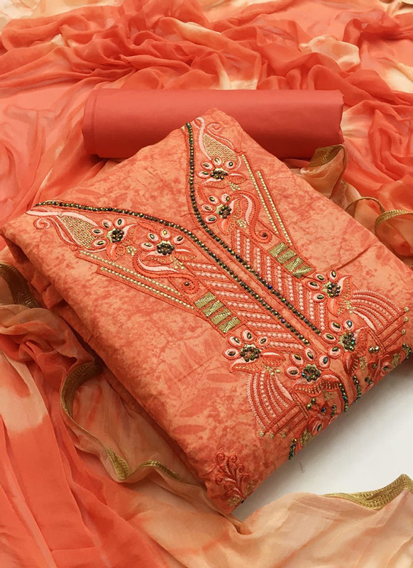 Dial N Fashion Kesari Elegant Peach Cotton Embroidered Work Designer Salwar Kameez