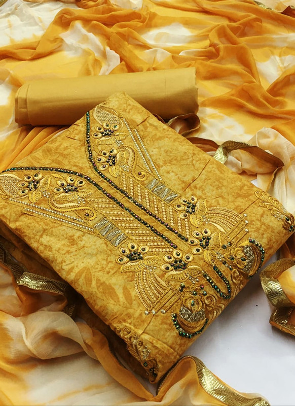 Dial N Fashion Kesari Alluring Yellow Cotton Embroidered Work Designer Salwar Kameez