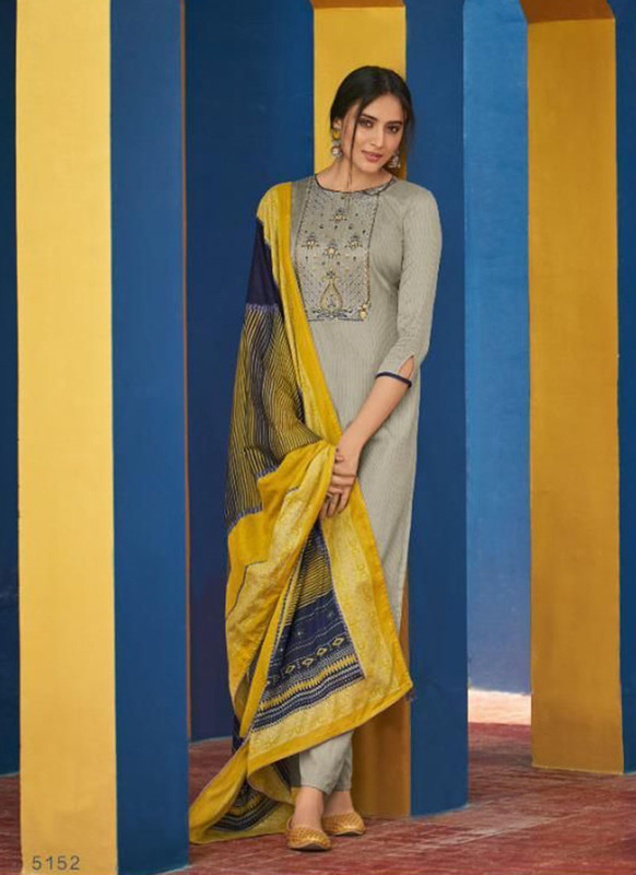 Shahnaz Arts Panihari Grey Color Cotton Churidar Salwar Kameez