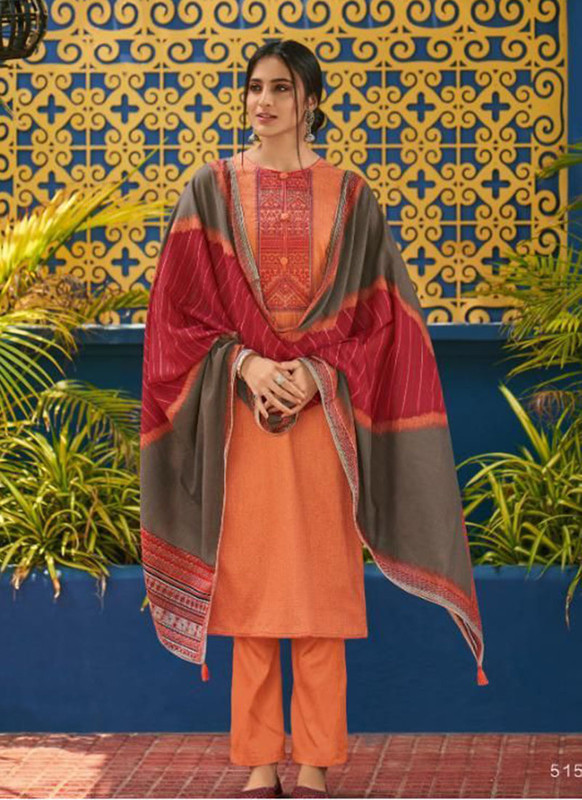 Shahnaz Arts Panihari Orange Color Cotton Churidar Salwar Kameez