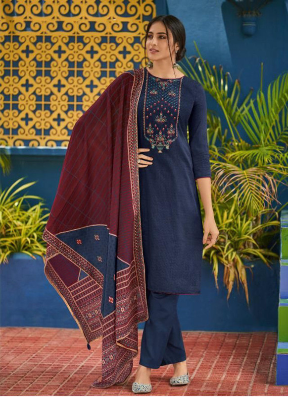 Shahnaz Arts Panihari Blue Color Cotton Churidar Salwar Kameez