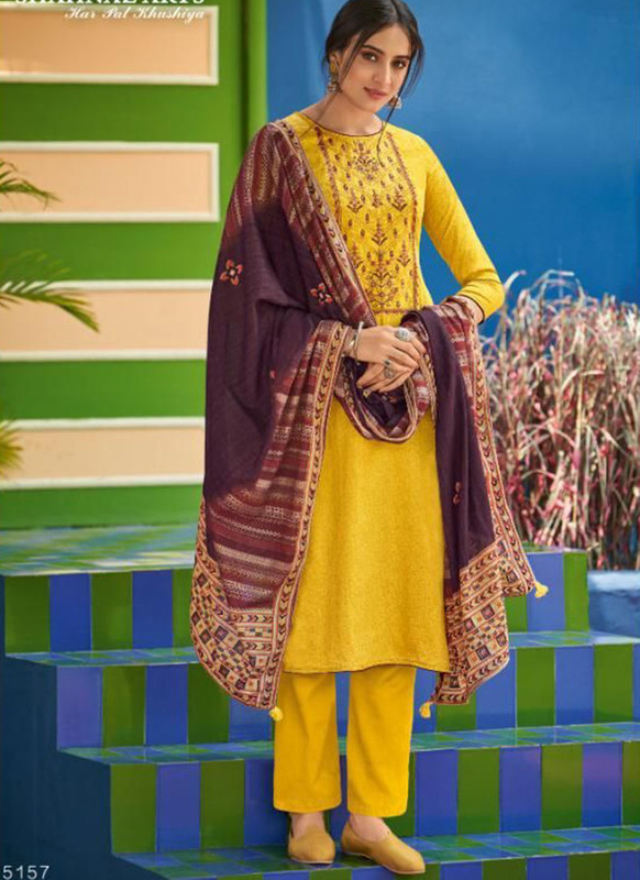 Shahnaz Arts Panihari Yellow Color Cotton Churidar Salwar Kameez
