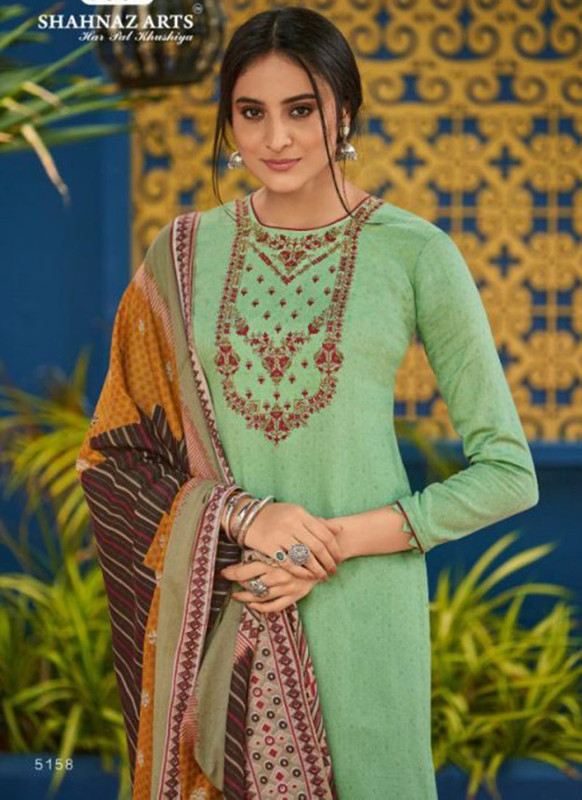 Shahnaz Arts Panihari Green Color Cotton Churidar Salwar Kameez