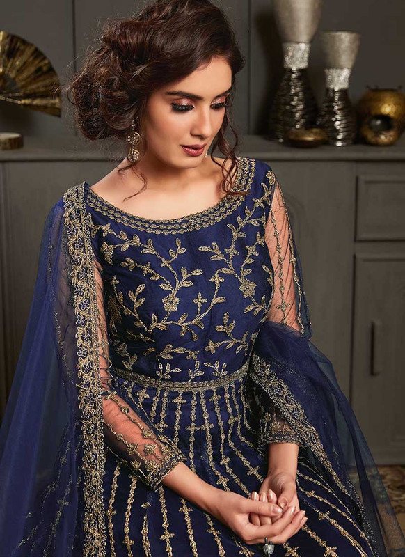 Vipul Elliza Blue Net Designer Floor Length Salwar Suit