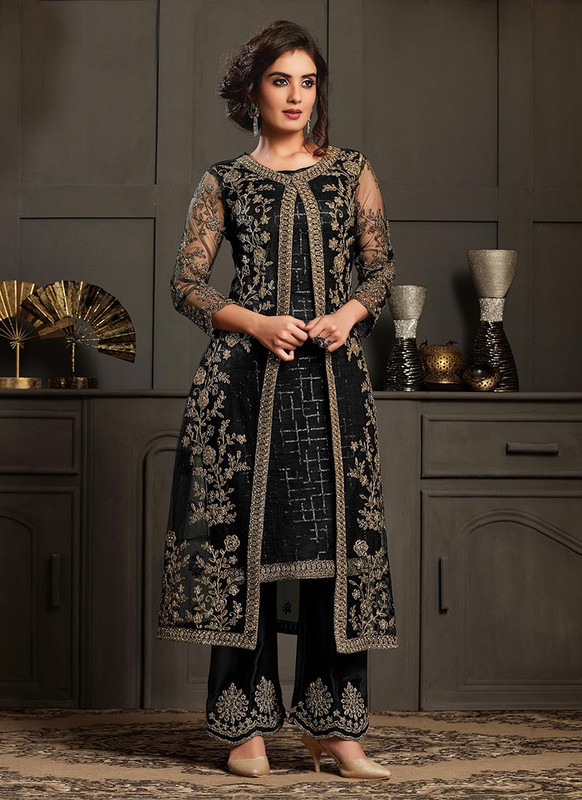 Vipul Elliza Black Net Designer Floor Length Salwar Suit