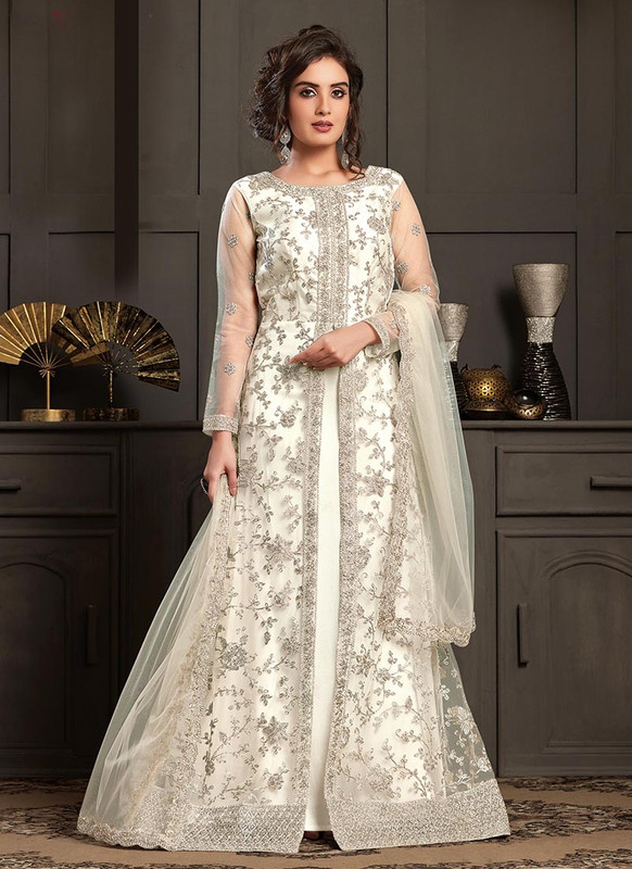Vipul Elliza Off White Net Designer Floor Length Gown