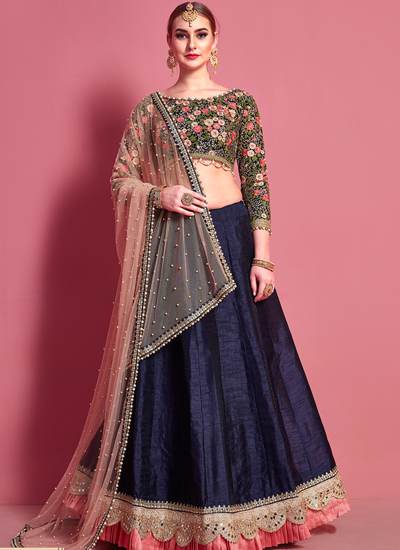 Sareetag Arya Designs Navy Blue Smashing Party Wear Lehenga Choli