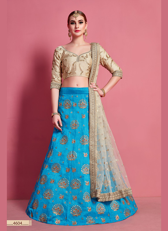 Sareetag Arya Designs Sky Blue Attractive Party Wear Lehenga Choli