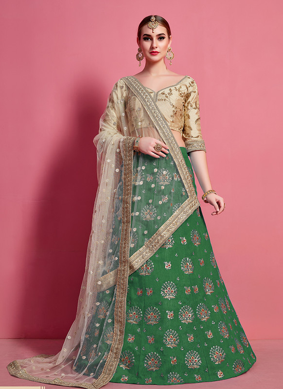 Sareetag Arya Designs Green Sensual Party Wear Lehenga Choli