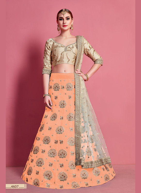 Sareetag Arya Designs Orange Splendid Party Wear Lehenga Choli