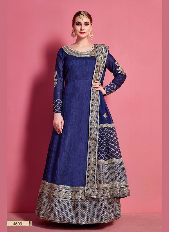 Sareetag Arya Designs Navy Blue Charming Party Wear Lehenga Choli
