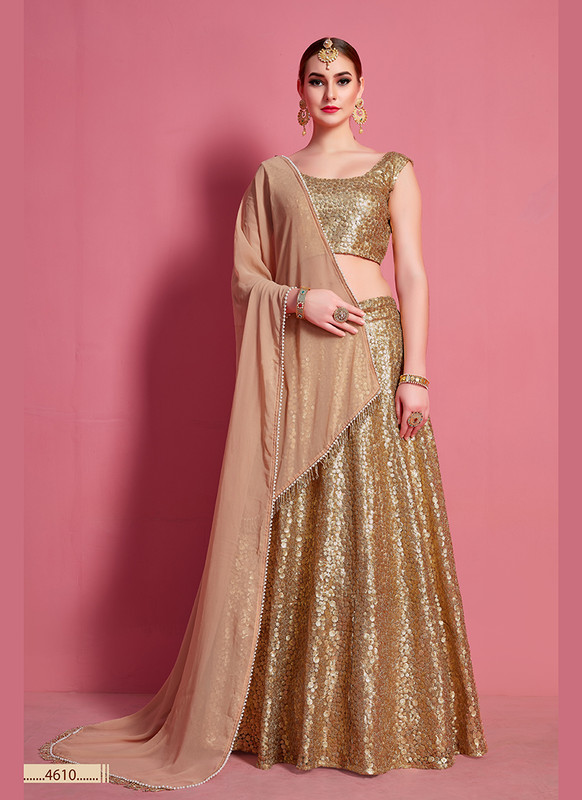 Sareetag Arya Designs Beige Magnificent Party Wear Lehenga Choli