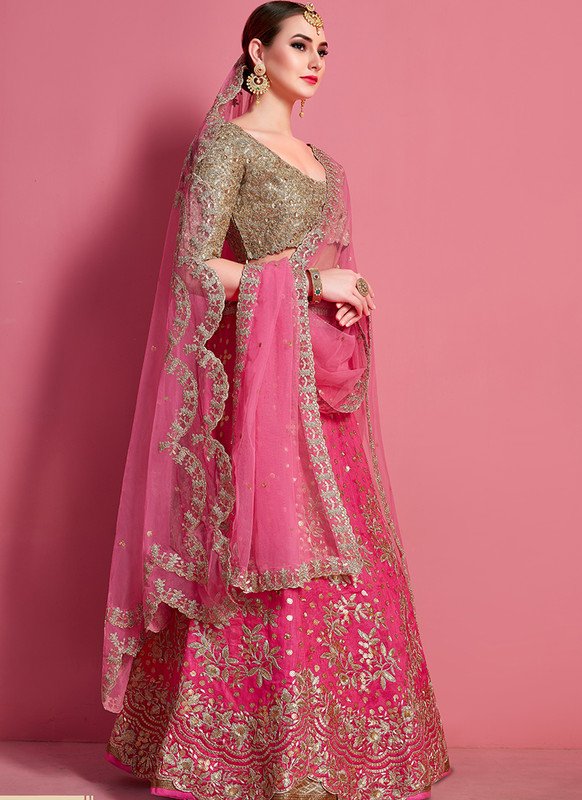 Sareetag Arya Designs Magenta Reach Party Wear Lehenga Choli