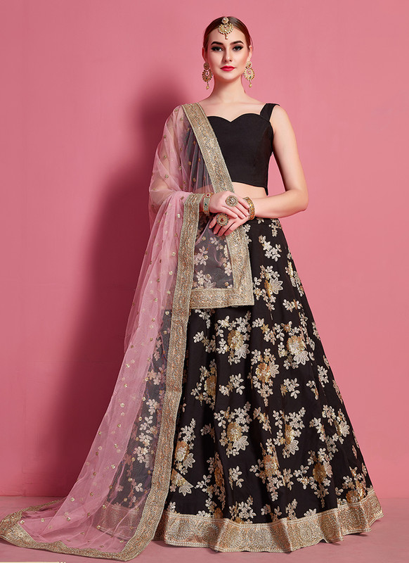 Sareetag Arya Designs Black Lavish Party Wear Lehenga Choli
