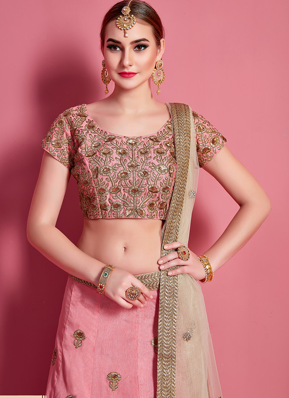 Sareetag Arya Designs Baby Pink Fabulous Party Wear Lehenga Choli