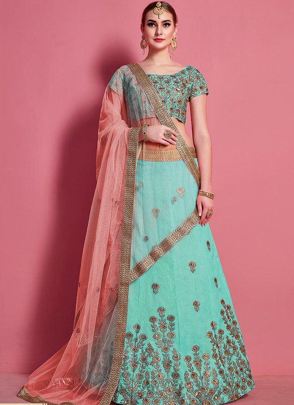 Sareetag Arya Designs Sea Green Fantastic Party Wear Lehenga Choli